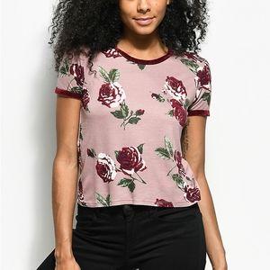 Zumiez M Empyre Velvet Mauve Floral Ringer Tshirt